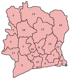 Le regioni della Costa d'Avorio: (1) Agnéby (2) Bafing (3) Basso Sassandra (4) Denguélé (5) Montagne (6) Fromager (7) Alto Sassandra (8) Laghi (9) Lagune (10) Marahoué (11) Medio Cavally (12) Medio Comoé (13) N'zi-Comoé (14) Savane (15) Bandama Sud (16) Comoé Sud (17) Valle del Bandama (18) Worodougou (19) Zanzan