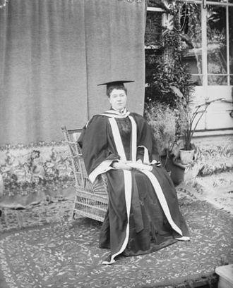 Victorian Order of Nurses - Founder Lady Aberdeen was the first woman to receive an honorary degree in Canada. She is shown here in Queen's University robes, photographed by William James Topley, in May 1897.