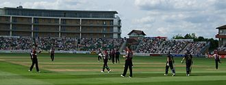 County Ground, Taunton - View across the ground towards the Somerset Stand on the left and Marcus Trescothick Stand on the right.