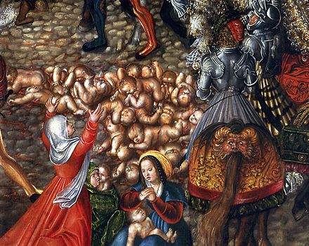 The Massacre of the Innocents (detail) by Lucas Cranach the Elder (c. 1515), National Museum in Warsaw. Cranach Massacre of the Innocents (detail).jpg