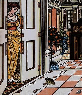 "The Frog Prince - The frog asks to be allowed to come into the castle – Illustration for ""The Frog Prince"" by Walter Crane 1874"