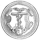 Melanchthons Wappen, in einem 1556 gedruckten Kommentar zum Römerbrief (Quelle: Wikimedia)