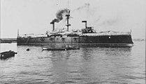 Vaixell espanyol Cristóbal Colón. Destruït en la batalla de Santiago el 3 de juliol de 1898.