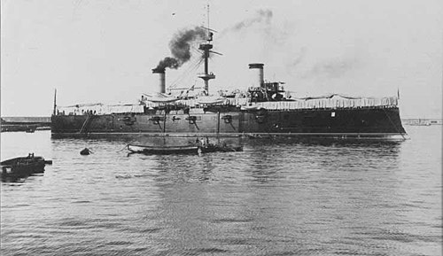 The Spanish armored cruiser Cristobal Colon, which was destroyed during the Battle of Santiago on July 3, 1898 Cristobal-colon h63229.jpg