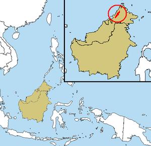 Crocker Range - Map showing location of Crocker Range within Borneo