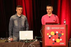 Croteam - CCO Davor Hunski (left) and CTO Alen Ladavac at the Game Developers Conference 2015