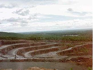 Chauncey Peak - Quarry on the east side of Chauncey Peak. 2000 photo; more rock has been removed since.