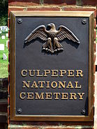 Culpeper National Cemetery Entrance Gate Plaque