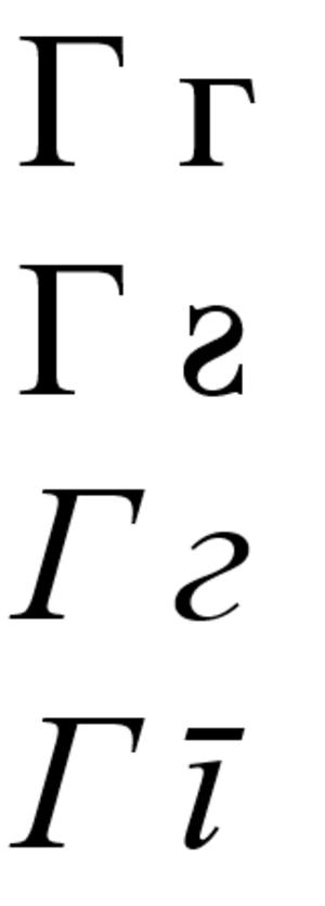 Ge (Cyrillic) - Г in: Russian/Serbian normal font; Bulgarian cyrillic; Russian/Bulgarian italic; Serbian italic