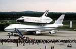 DF-ST-84-05706 Spectators observe the arrival of the Space Shuttle Enterprise and its modified 747 transport aircraft at the Koln-Bonn Airport..jpeg