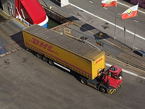 Sisu Axles - Image: DHL semi trailer unloaded from ferry