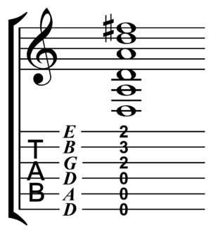 Drop D tuning - Image: D chord in drop D tuning