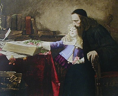 Uriel d'Acosta instructing the young Spinoza, by Samuel Hirszenberg (1901).