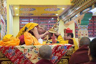 Pema Tönyö Nyinje - Historic visit of the 14th Dalai Lama to Palpung Sherabling Monastery, May 11 and 12, 2015. 12th Tai Situ offering a long-life empowerment to the Dalai Lama.