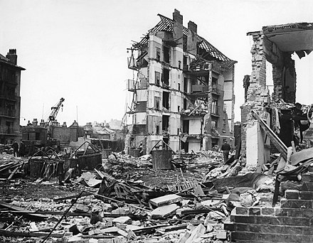 Ruined buildings at Whitechapel, London, left by the penultimate V-2 to strike the city on 27 March 1945; the rocket killed 134 people. The final V-2 to fall on London killed one person at Orpington later the same day. Damage Caused by V2 Rocket Attacks in Britain, 1945 HU88803.jpg