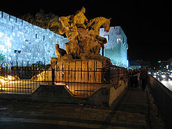 The statue of Saladin in front of Damascus citadel.