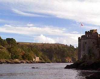 River Dart - Dartmouth and Kingswear Castles guard the mouth of the River Dart.