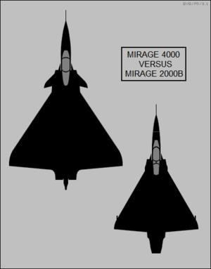 Dassault Mirage 4000 - Image: Dassault Mirage 4000 and Mirage 2000B top view silhouette comparison
