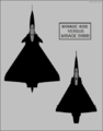 Dassault Mirage 4000 and Mirage 2000B top-view silhouette comparison.png
