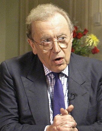Talk show host Sir David Frost, who broke the news of Operation Barras to the British public David Frost Rumsfeld interview cropped.jpg