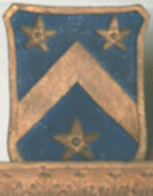 Canonteign - Arms of Davie of Canonteign: Azure, a chevron between three mullets pierced or (a difference of Davie of Creedy, Sandford). Dexter top of mural monument in All Saints Church, Clovelly, Devon, to Dr. George Cary (1611–1680), lord of the manor of Clovelly, and representing his daughter-in-law Martha Davie, daughter and heiress of William Davie of Canonteign, and second wife of his eldest son and heir, Sir George Cary (1654–1685) of Clovelly, who erected the monument
