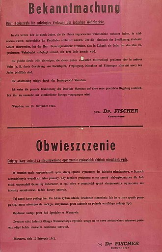 Irena Sendler - Announcement of death penalty for Jews found outside the ghetto and for Poles helping Jews in any way, 1941