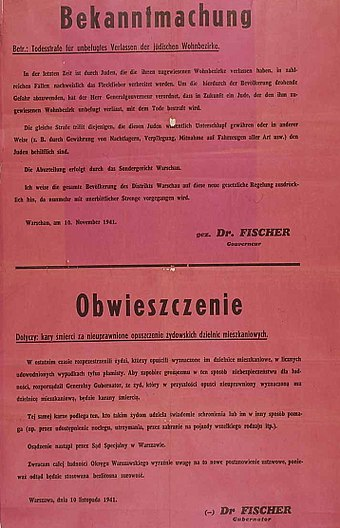 1941 announcement of death penalty for Jews caught outside the Ghetto, and for Poles helping Jews Death penalty for Jews outside ghetto and for Poles helping Jews anyway 1941.jpg