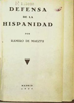 Hispanidad - Cover of the first edition of Defensa de la Hispanidad (1934), by Ramiro de Maeztu.
