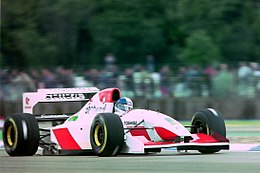 Derek Warwick - Footwork FA14 during practice for the 1993 British Grand Prix (32873535493).jpg