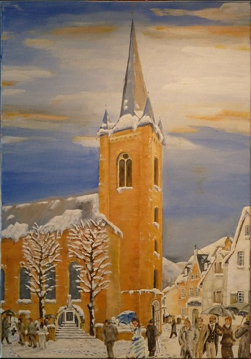 Dernau Kirchgang ca. 1940 Acryl Leinwand 50 x 80 cm (verkleinert).JPG