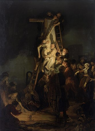 Looted art - Rembrandt's Descent from the Cross was looted in 1806 by French soldiers from the Landgrave of Hesse-Kassel, Germany; current location: Hermitage, St. Petersburg.