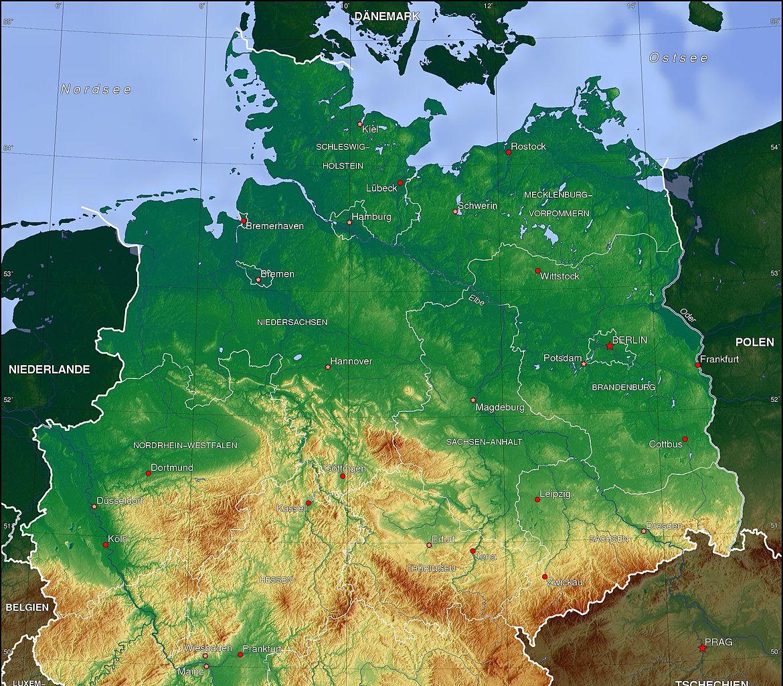 Topographische Karte des Norddeutschen Tieflandes