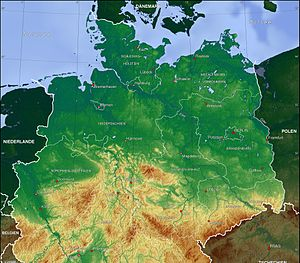 North German Plain - Physical map of Germany. The North German Plain largely corresponds to the dark green surfaces north of the tan-coloured low mountain ranges