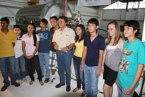Franklin Chang Díaz -  Dr. Chang with students during the filming of Odyssey 2050 The Movie at Ad Astra Rocket Company.