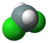 Spacefill model of dichlorosilane