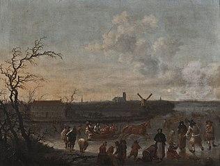 IJsvermaak op de Rotte, Rotterdam met de Laurenskerk op de achtergrond