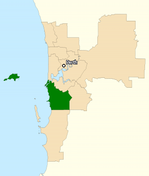 Division of Fremantle - Division of Fremantle in Western Australia, as of the 2016 federal election.