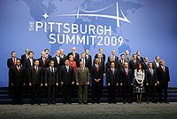 Leaders of the G-20 countries present at the Pittsburgh Summit