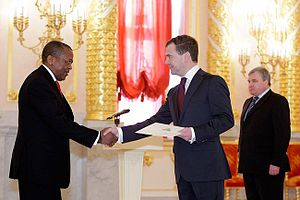 Lesotho–Russia relations - Makase Nyaphisi, until 2012 the Lesotho ambassador to Russia, presents his credentials to Dmitry Medvedev on 5 February 2010.