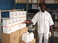 Dr Diabanza, provincial malaria coordinator for Zaire province, and new antimalarial supplies (12755211125).jpg