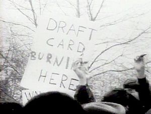 Draft-card burning - Young men burn their draft cards in New York City on April 15, 1967, at Sheep Meadow, Central Park
