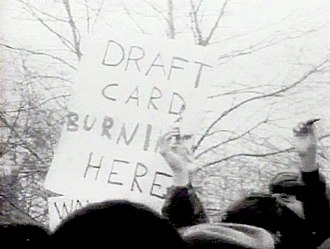 Draft-card burning - Young men burn their draft cards in New York City on April 15, 1967, at Sheep Meadow, Central Park.