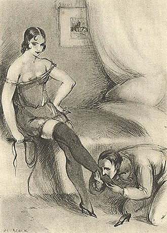 Dominatrix - Foot worship of a dominatrix by a submissive man, 1931