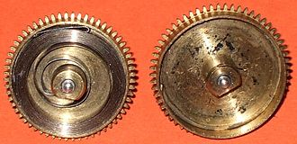 Mainspring - Going barrel of a watch, opened.