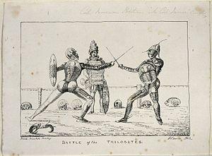 Levett - Capt. Levett Landon Boscawen Ibbetson, descendant of merchant Francis Levett, dueling in an trilobite exoskeleton. Drawn by his friend Gideon Mantell, fellow member of The Royal Society