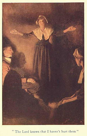 Rebecca Nurse - A conceptualized drawing of Rebecca Nurse from A tale of old Salem, by Henry Peterson.