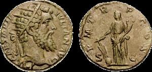 Gubernaculum (classical) - Dupondius Fortuna with gubernaculum