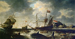 Whaling - One of the oldest known whaling paintings, by Bonaventura Peeters, at The Mariners' Museum