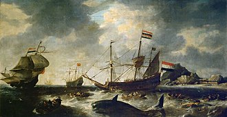 Whaling - One of the oldest known whaling paintings, by Bonaventura Peeters, depicting Dutch whalers at Spitzbergen circa 1645