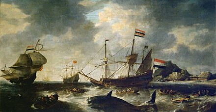 One of the oldest known whaling paintings, by Bonaventura Peeters, depicting Dutch whalers at Spitzbergen circa 1645 Dutch Whaling Scene Bonaventura Peeters.JPG